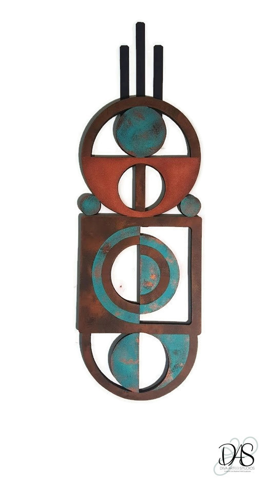 Patina Aqua and brown wood and metal wall sculpture, geometric wall decor,