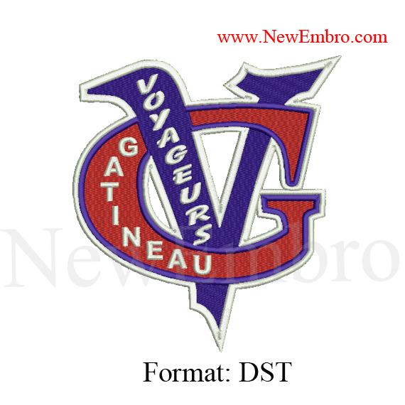 Custom embroidery design VOYAGEURS GATINEAU logo embroidery logo embroidery