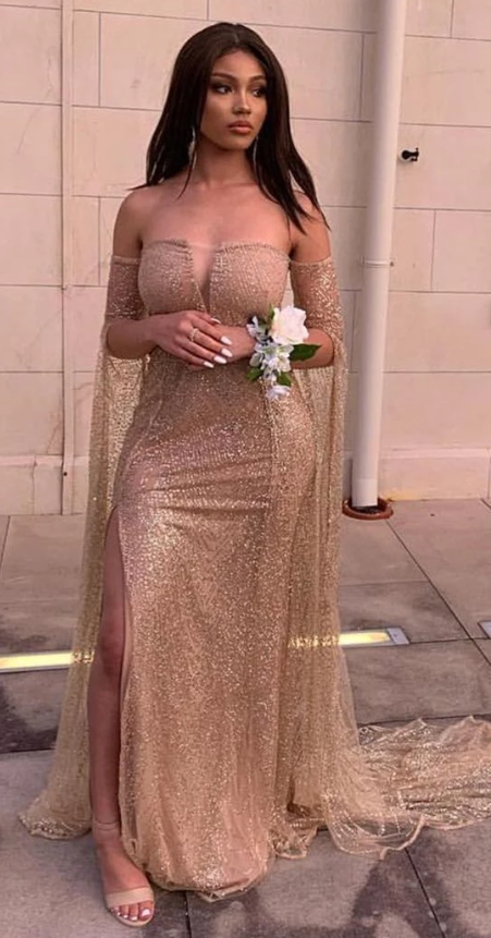 Off The Shoulder Long Sleeves Champagne Prom dress,AE848