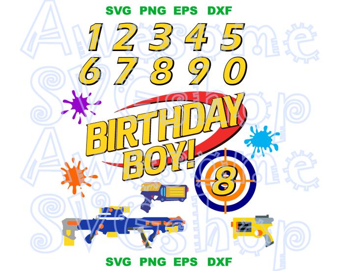 Nerf SVG Nerf Gun Custom order Name Number Party Supplies Shirt clipart decor