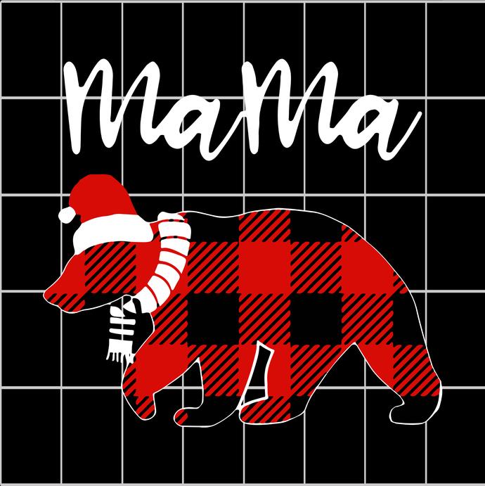 Red plaid matching family pajama funny mama bear buffalo christmas svg,mama bear