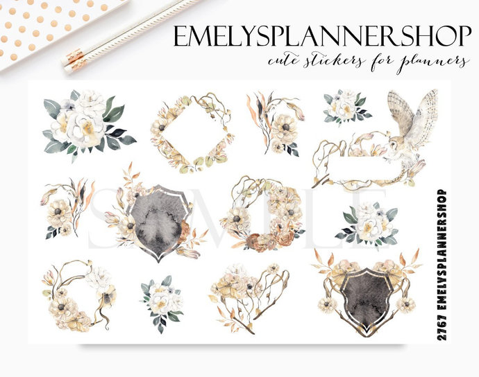 Nature and Flowers Planner Stickers - Crest and Frames - Watercolor Art  - Boho