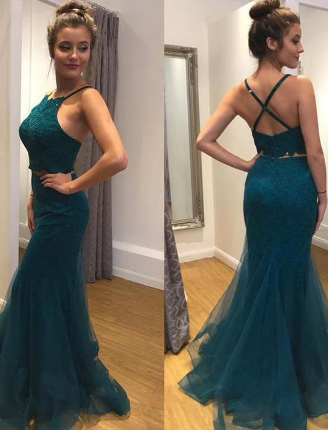Hot Sale Appealing Prom Dresses Lace, Mermaid Prom Dresses, Two Pieces Prom