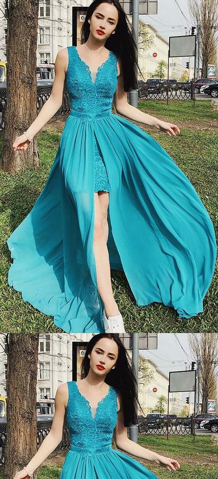 Impressive Blue Chiffon V Neck Lace Appliques Long Prom Dress