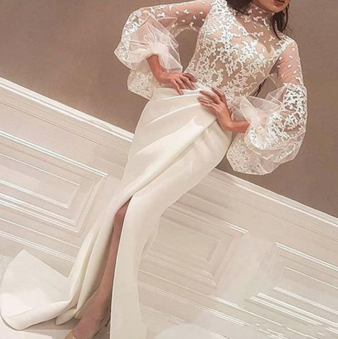 2019 High Low Plus Size Formal Dresses Lace Long Sleeve Evening Gowns,Custom