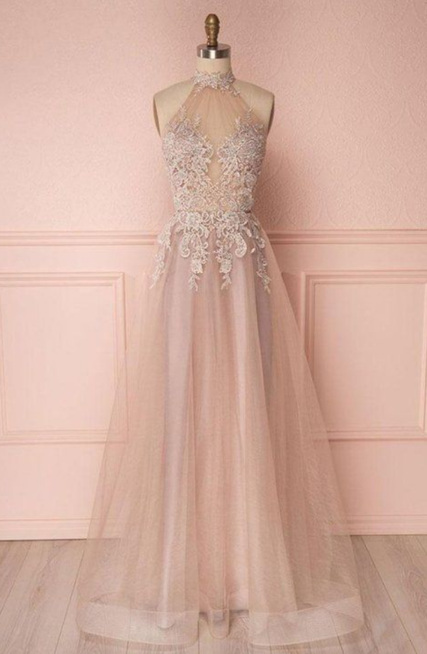 High Neck Tulle Lace Long Backless Prom/Evening Dress With Appliques