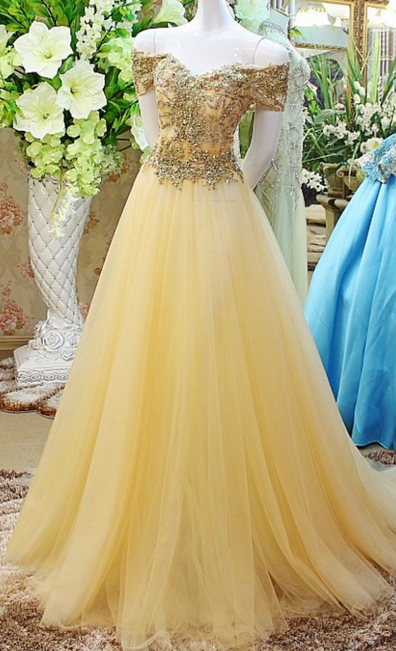 Beaded Prom Dress,Off The Shoulder Prom Dress,Illusion Prom Dress,Fashion Prom