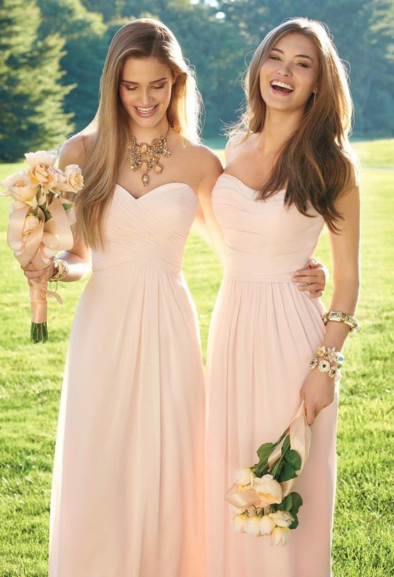 Blush Pink Bridesmaid Dresses, Cheap Long Bridesmaid Dress, Strapless Criss