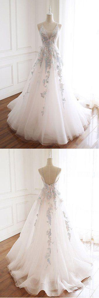 White Tulle V Neck Open Back Spaghetti Straps Long Formal Prom Dress, Evening