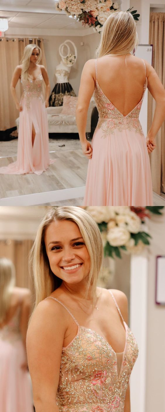 Spaghetti Straps Pink Long Prom Dress with Slit