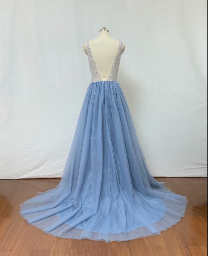 2019 Fashion Light Blue Beading Evening Dresses A Line Tulle Prom Gowns