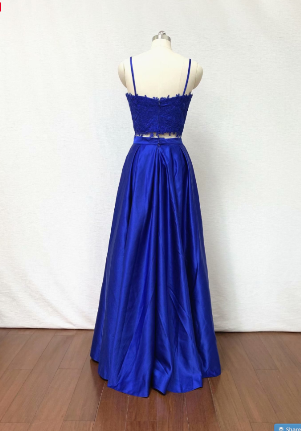 2019 Sexy Royal Blue 2 Piece Prom Dress Evening Dresses A Line Applique Prom