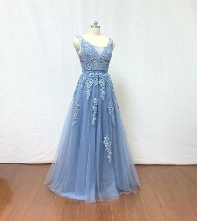 2019 Prom Dress Light Blue Lace Applique Formal Dresses Evening Dresses Backless