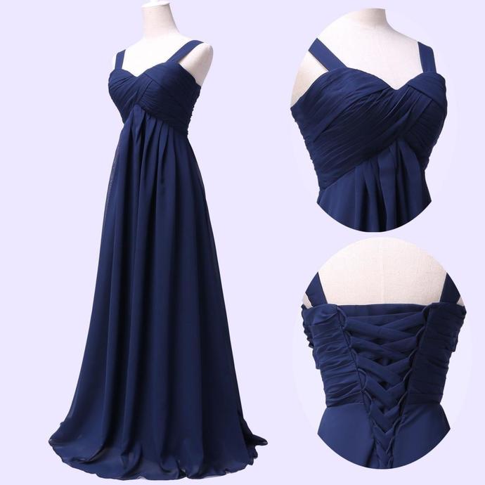 Empire Waist Floor Length Navy Chiffon Bridesmaid Dresses Party Dress