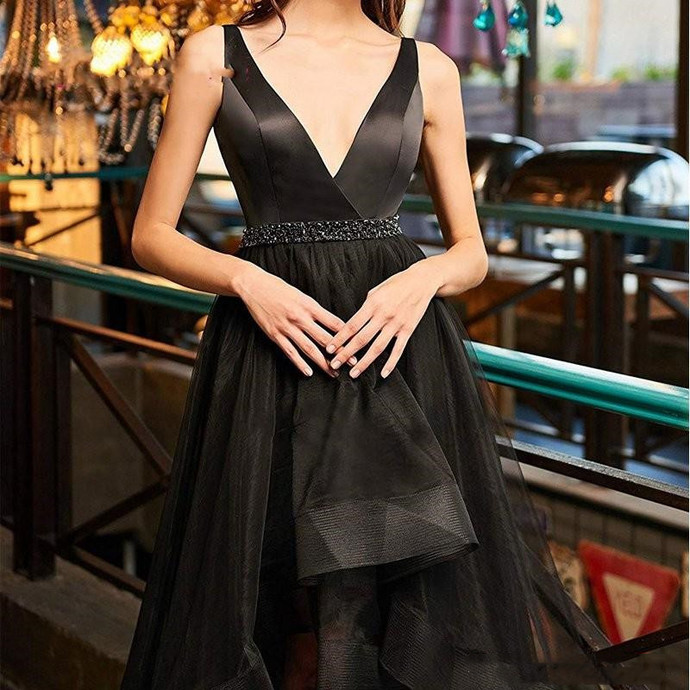 High Low Sexy V Neck Black Prom Dress With Beaded Sash A Line Simple Design