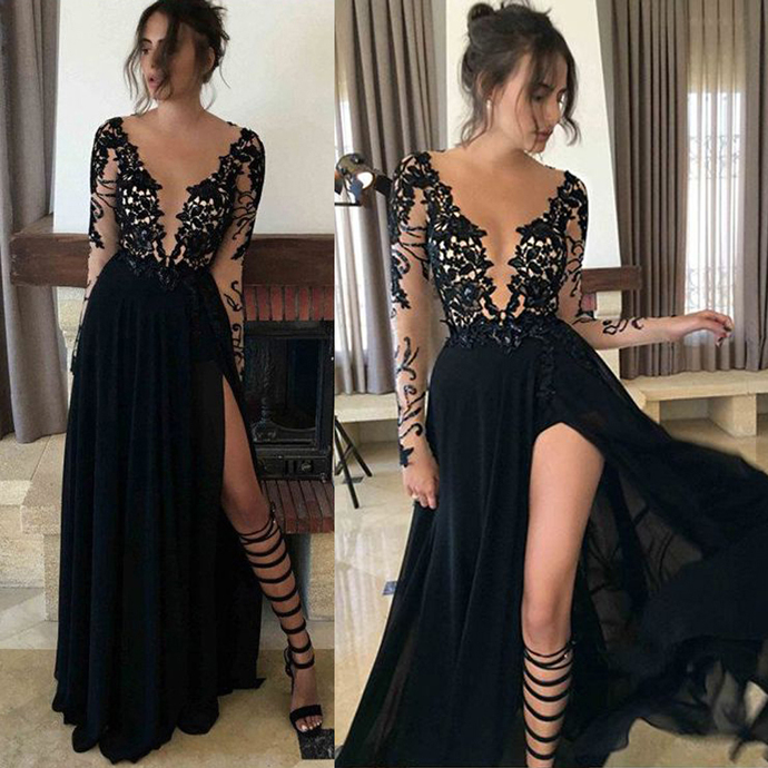 Black Chiffon See-through Prom Dresses,Side Slit Prom Dresses,Long Sleeves Lace
