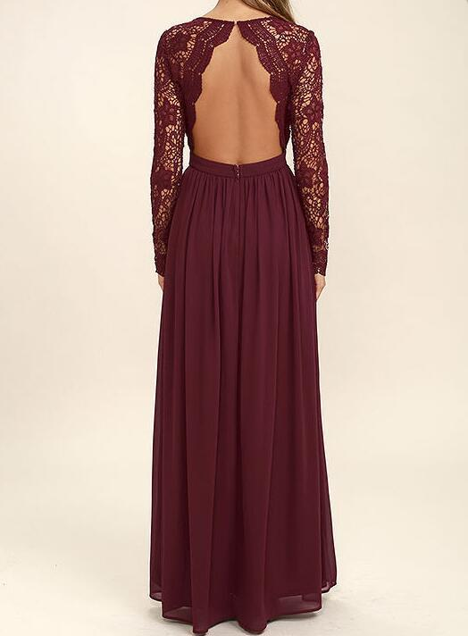 Lace Bodice Burgundy Chiffon Bridesmaid Dresses,Simple Long Sleeves Backless