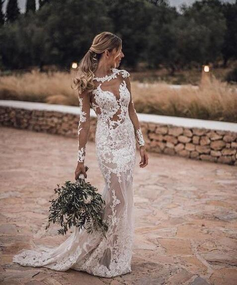 Mermaid Wedding Dresses,Long Sleeves Appliques Sexy Bridal Wedding Gowns,Sweep