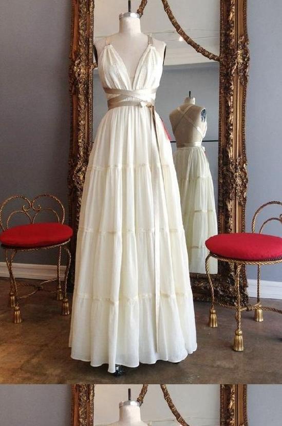 Absorbing A-Line Prom Dresses, Ivory Prom Dresses, 2019 Prom Dresses