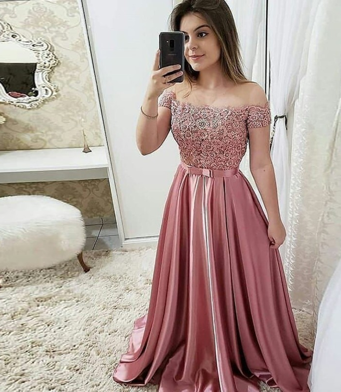 A Line Off The Shoulder Sweep Train Burgundy Prom Dress With Appliques,