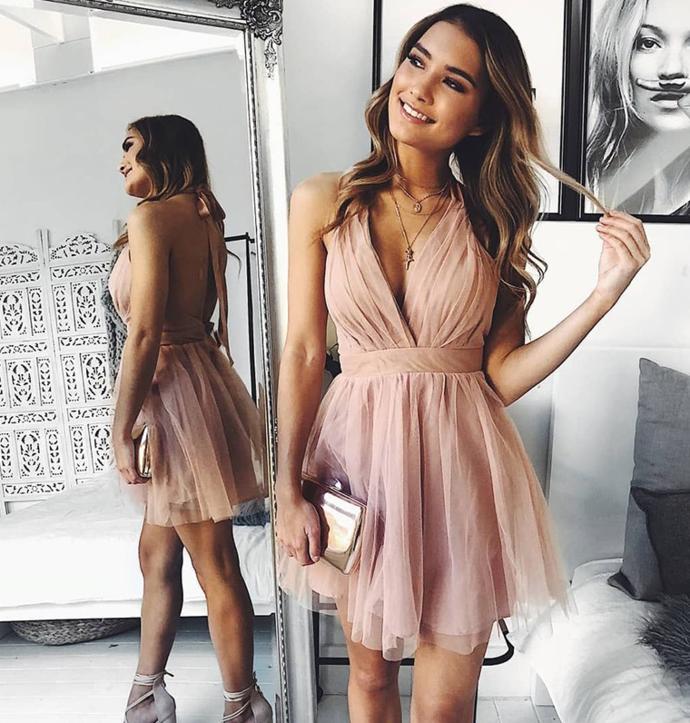 A Line V Neck Backless Pink Short Prom Homecoming Dress
