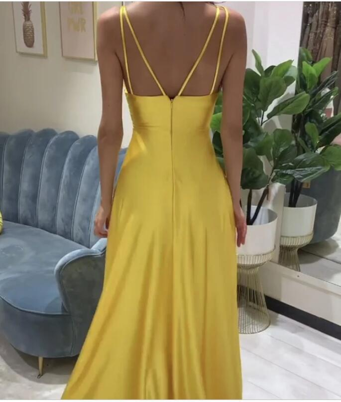 New Arrival Yellow Satin Spaghetti Strap Long Prom Dresses A Line Prom Party