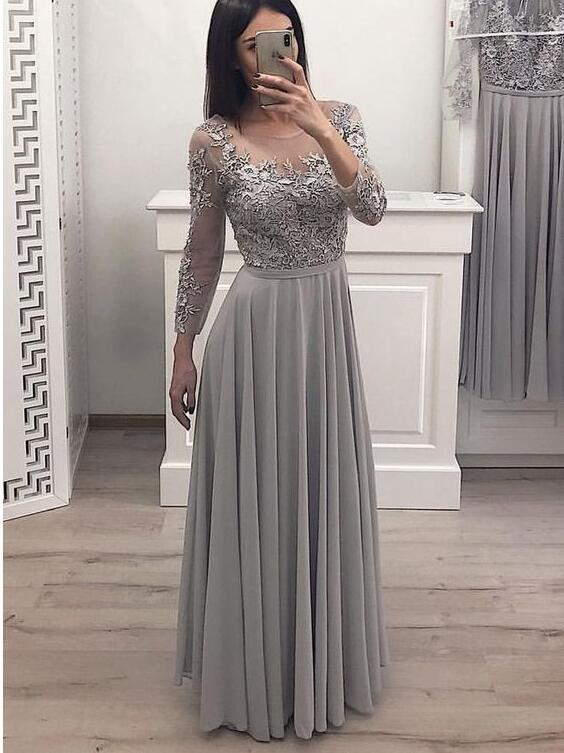 Sexy Sheer Neck Silver Chiffon Long Prom Dresses ,Lace A Line Prom Gowns ,Custom