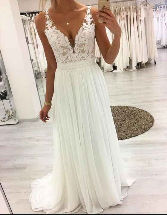 Cheap White V-Neck Chiffon Lace Prom Dresses A Line Women Party Gowns Custom