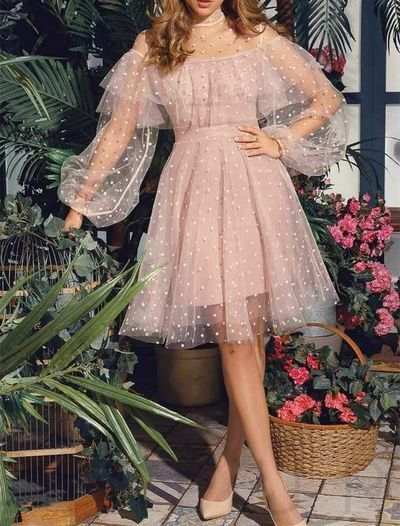 Cute Pink Short Homecoming Dresses,Princess Lace Long Sleeves Prom Dresses