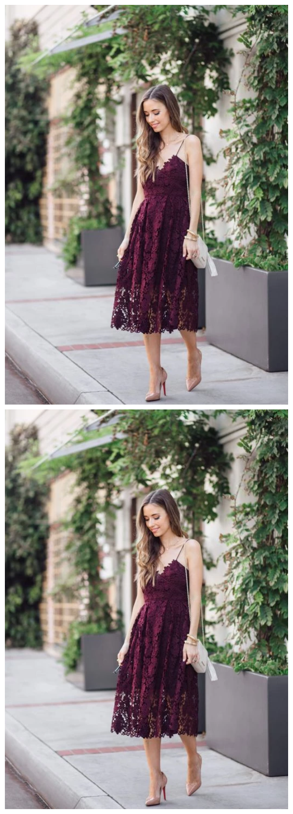 Short purple Homecoming Dresses lace homecoming dress