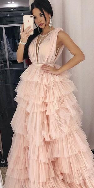 Tulle Light Pink A-line Sleeveless Elegant Prom Dresses