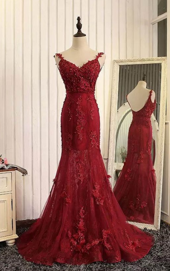 Charming Prom Dress,Sexy Red Prom Dress,Long Prom Dresses,Mermaid Evening
