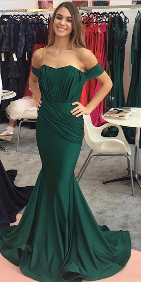 Off the Shoulder Prom Dresses,Long Mermaid Prom Dresses,Emerald Green Prom