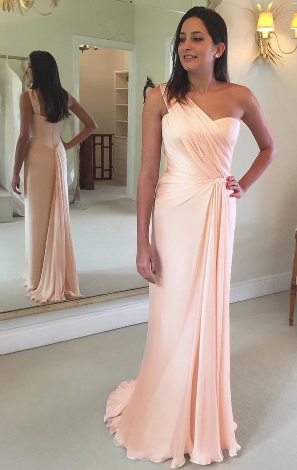 Long A Line Sexy Peach One Shoulder Prom Dress Evening Gowns Vestidos De Festa