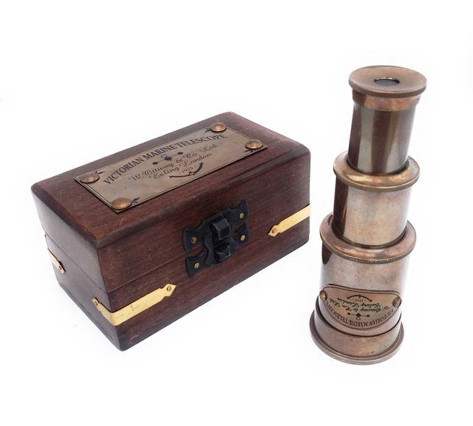 Vintage Nautical Victorian Marine Brass Telescope with Wood Box