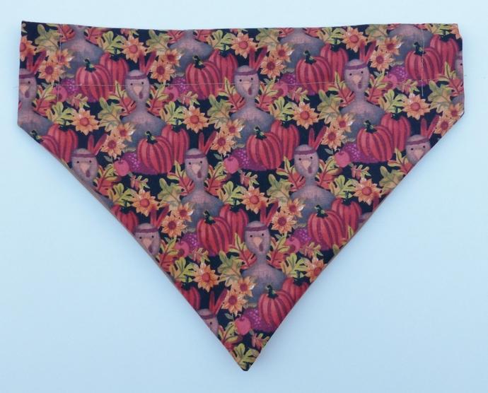 Dog bandana, Dog fashion, Size large, Pumpkins and Turkeys bandana, Gift for