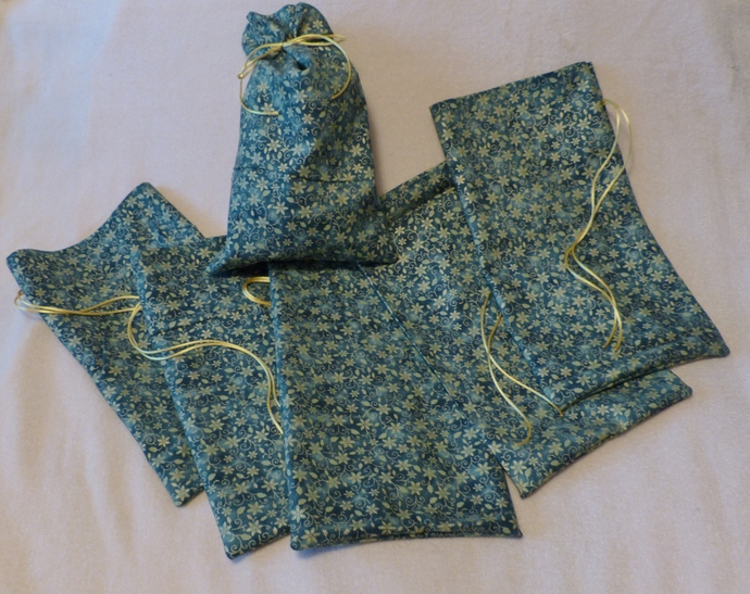 Fabric gift bags, Set of six bags, green with gold flowers fabric, Holiday gift