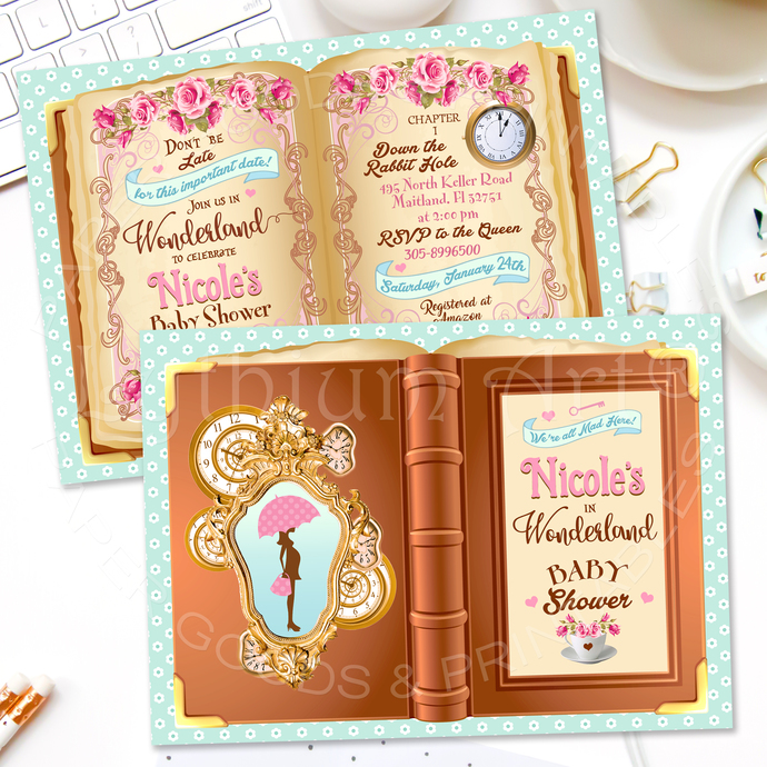 Alice In Wonderland Baby Shower Invitation, Girl Baby Shower Invite, Storybook