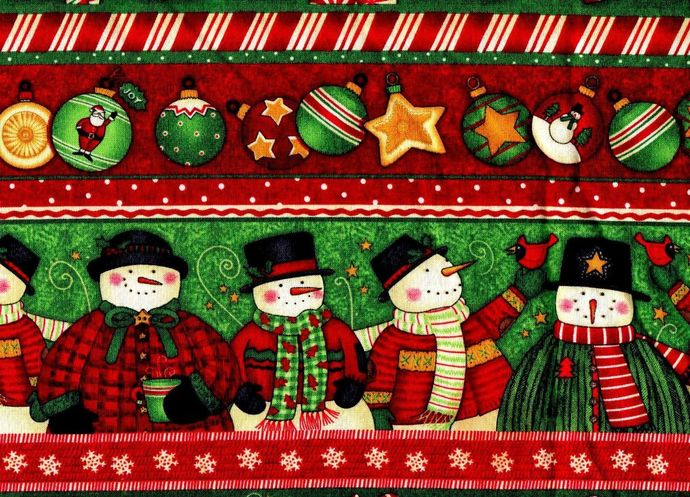 Yardage Cotton Quilt Fabric Christmas Baskets Snowman Ornaments Red Green