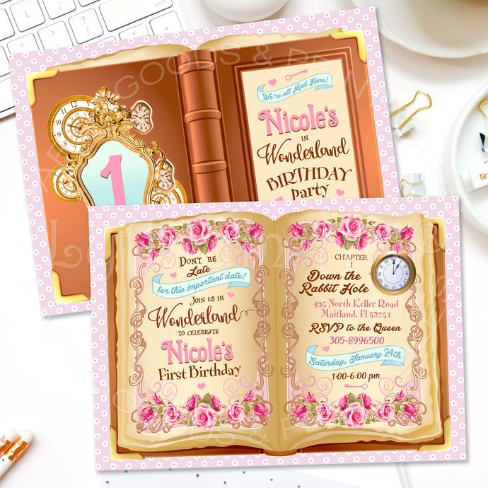 Alice In Wonderland Invitation, Storybook Invitation, First Birthday Party