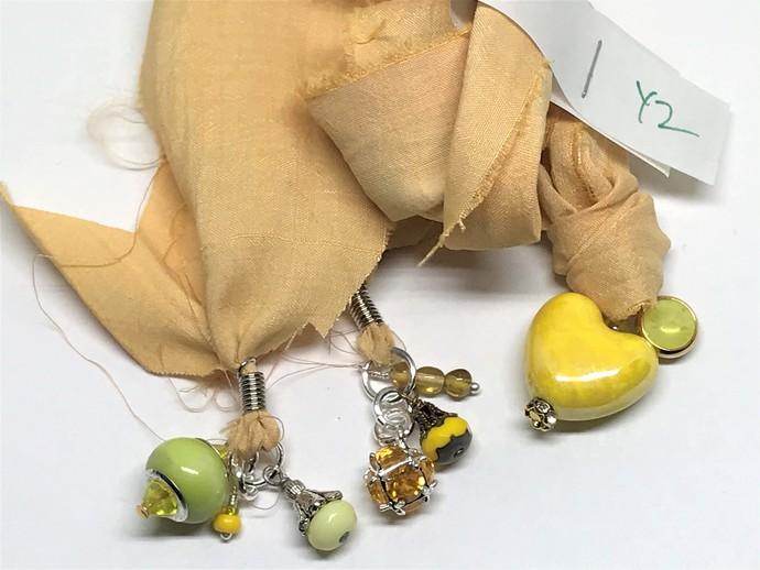 Boho Gypsy Silk Sari Ribbon Bookmark YELLOW HEART | Book Readers Gift | Book