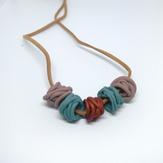 Grey Blue and Bronze Large Squiggle Bead Necklace