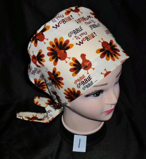 Scrubs Hats Pixie Scrub Caps  Ladies Nurses Thanksgiving  Surgical Cap Medical