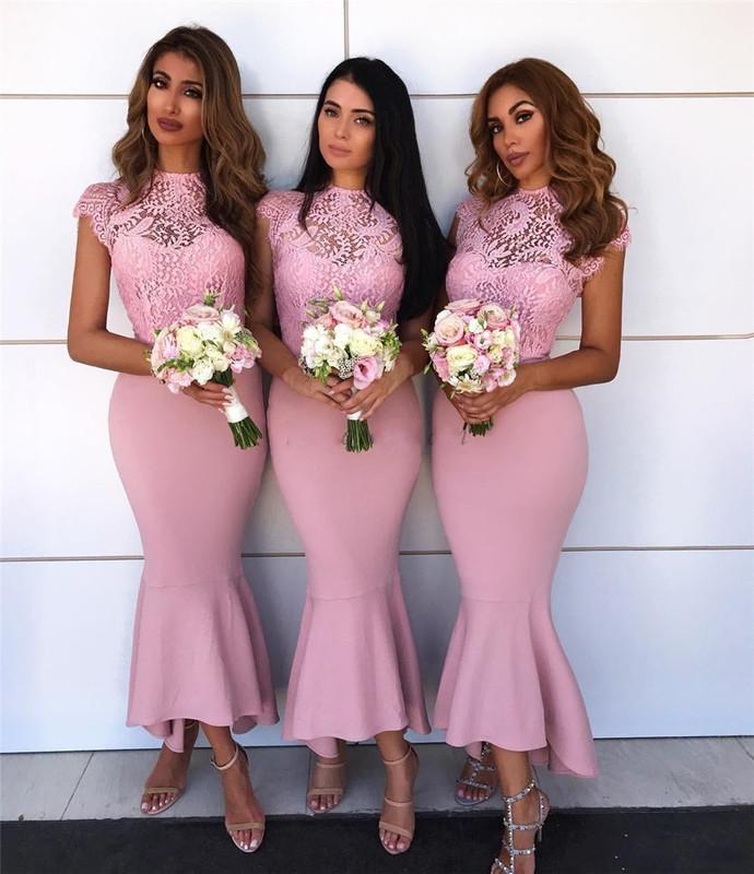 pink lace bridesmaid dresses short 2020 mermaid cap sleeve appliqué elegant