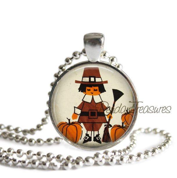 Thanksgiving Vintage Pilgrim Art Handmade Pendant Necklace or Keychain