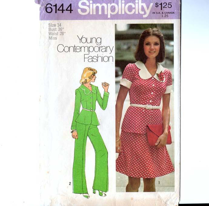 Simplicity 6144 Misses Jacket, Skirt, Pants 70s Vintage Sewing Pattern Young