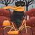 Black Cat Autumn Bicycle Ride Original Halloween Cat Folk Art Painting