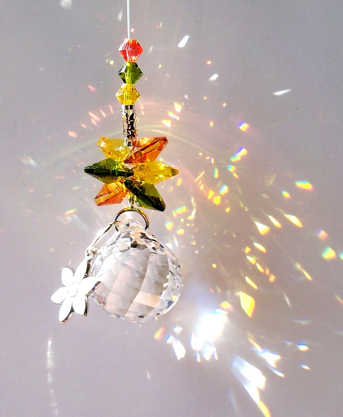 Crystal Suncatcher Cluster Retro Charmed Flower Power