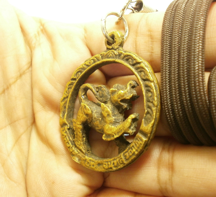 LP Joi KojCha Singha coin Lion mixed Elephant Creature blessed for  lucky rich
