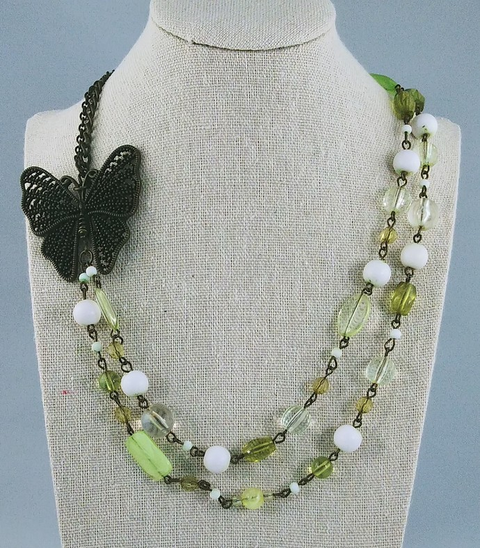 22'' Multi Strand Necklace with Butterfly